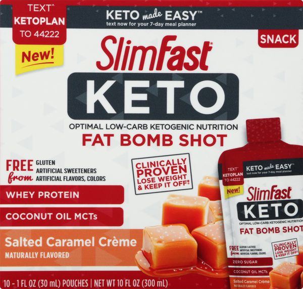 Slimfast Keto Fat Bomb Shot Salted Caramel Creme 10-1 fl oz Packets