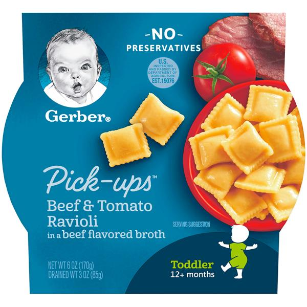 Gerber Pasta Pick Ups Beef & Tomato Ravioli in Chicken Broth