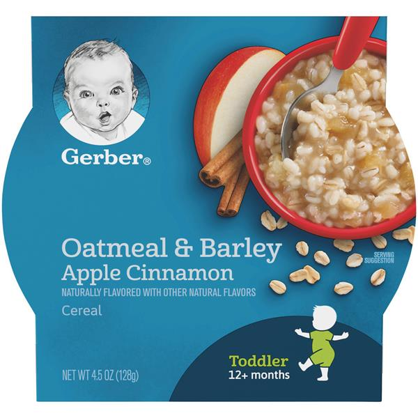 Gerber Graduates Breakfast Buddies Apple Cinnamon Hot Cereal with Real Fruit and Whole Grain Oats