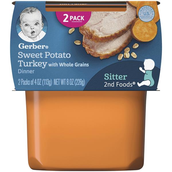 Gerber 2nd Foods Sweet Potato & Turkey with Whole Grains 2-4 oz Cups