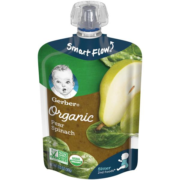 Gerber Organic 2nd Foods Fruit & Veggies Pear Spinach