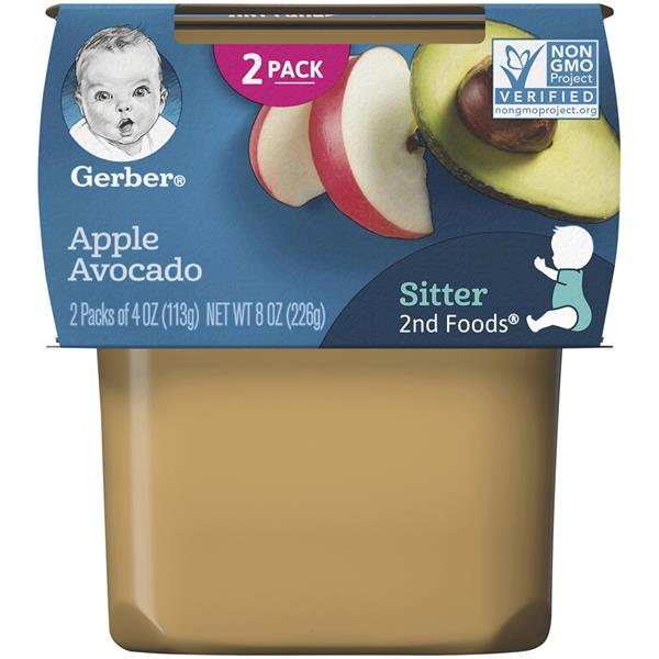 Gerber 2nd Foods Apple Avocado 2 - 4 oz Cups