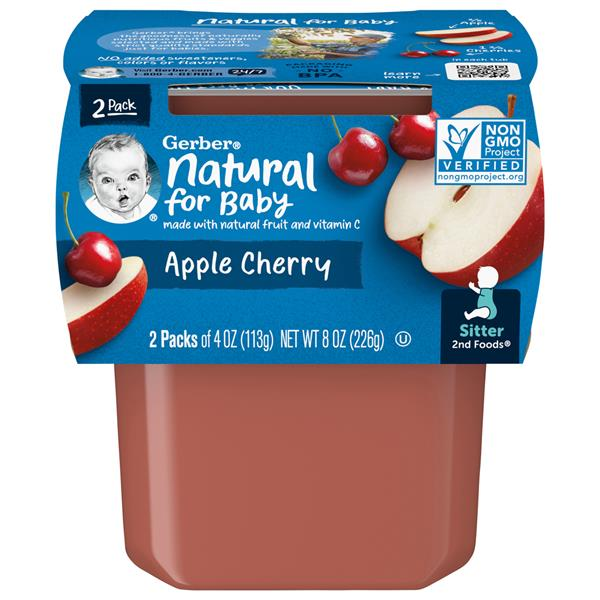 Gerber 2nd Foods Apples & Cherries Baby Food 2 Pack