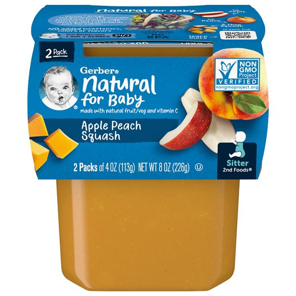 Gerber 2nd Foods Apple Peach Squash 2 Pack