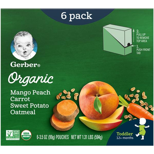 Gerber 2nd Foods Organic Mango Peach Carrot Sweet Potato Oatmeal Baby Food 6-3.5 oz. Pouches