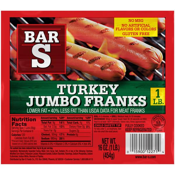 Bar S Franks Hot Dogs Nutrition