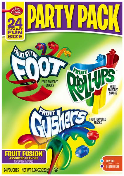 Betty Crocker Fruit by the Foot/ Fruit Roll-Ups/ Fruit Gushers Fruit Flavored Snacks Party Pack 24Ct