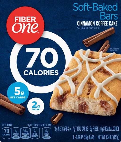 Fiber One 70 Calorie Cinnamon Coffee Cake 6-0.89 oz Bars
