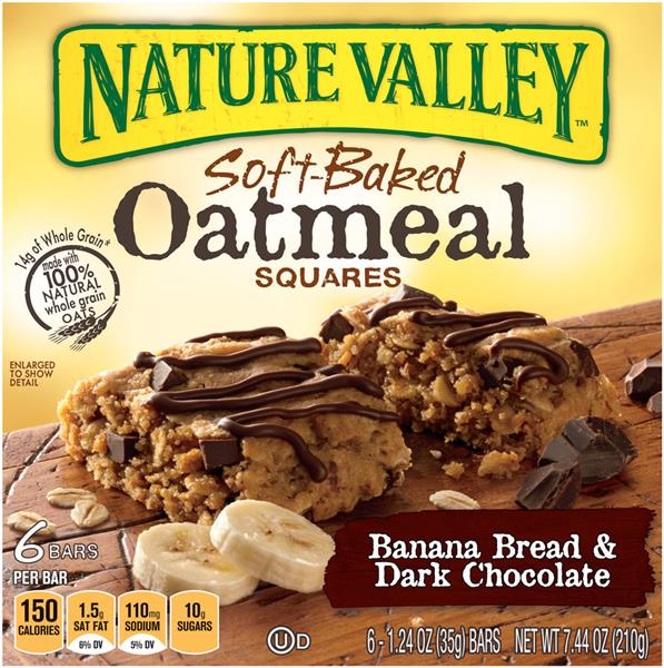 Nature Valley Banana Bread & Dark Chocolate Soft-Baked Oatmeal Squares 6-1.24 oz Bars