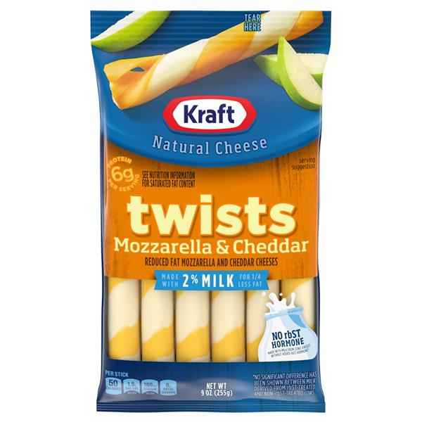 Kraft Twists Reduced Fat Mozzarella & Cheddar Cheese Snacks 12Ct