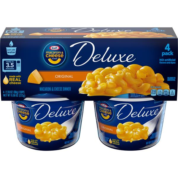 Kraft Macaroni & Cheese Deluxe Original - 4-2.39 oz Cups