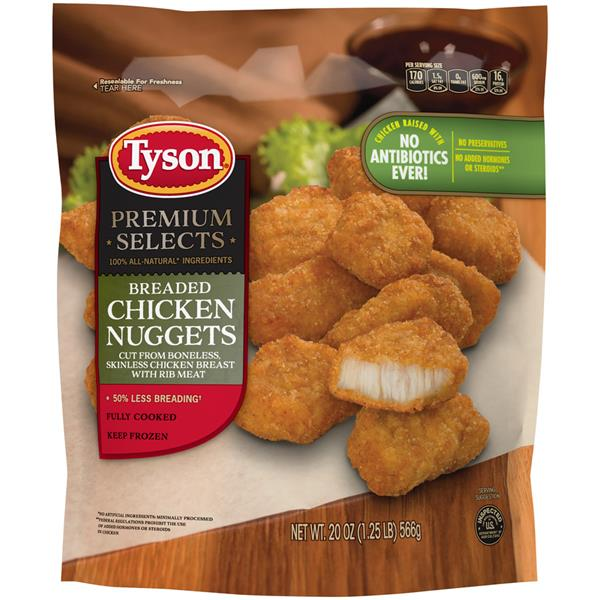 Tyson Fully Cooked Chicken Nuggets, 20 oz. (Frozen)