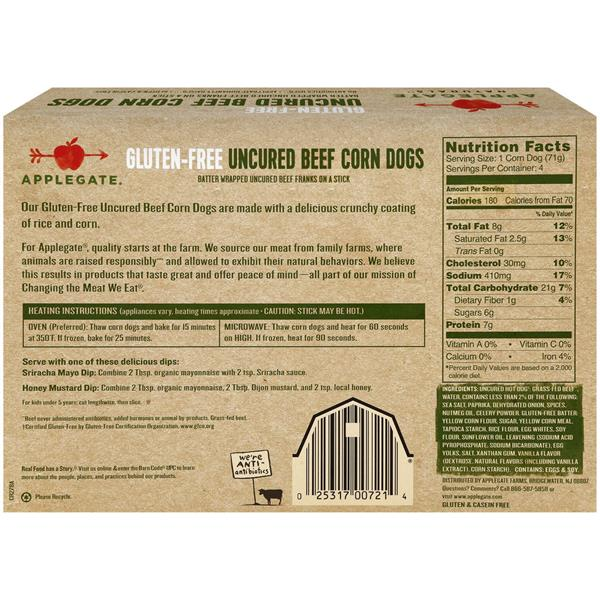 Applegate Natural Gluten-Free Uncured Beef Corn Dogs - 4 CT