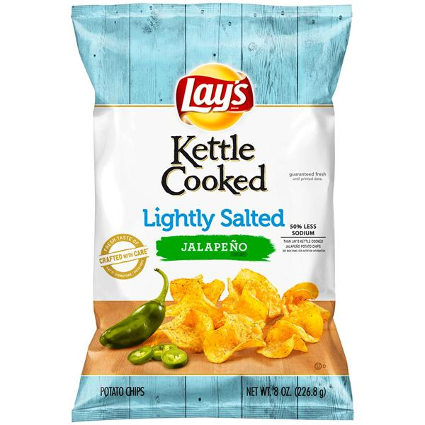 Lay's Kettle Cooked Potato Chips Lightly Salted Jalapeno