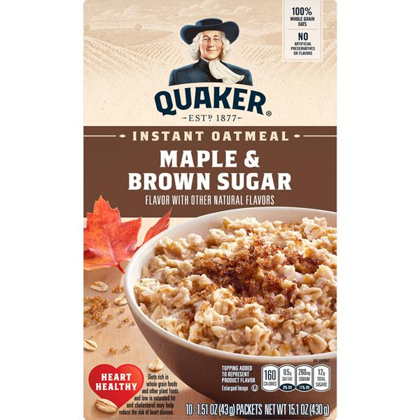 Quaker Maple & Brown Sugar Instant Oatmeal 10-1.51 oz  Packets