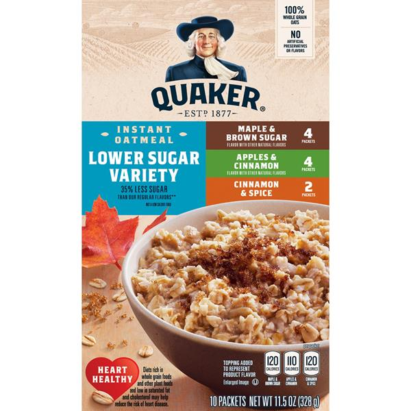 Quaker Instant Oatmeal Lower Sugar Variety, Maple & Brown Sugar, Cinnamon & Spice, Apples & Cinnamon 10 Packets