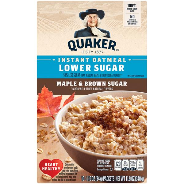 Quaker Oatmeal Lower Sugar Maple & Brown Sugar Instant Oatmeal 10 Packets