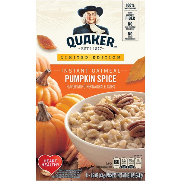 Quaker Limited Edition Pumpkin Spice Instant Oatmeal 8 ct