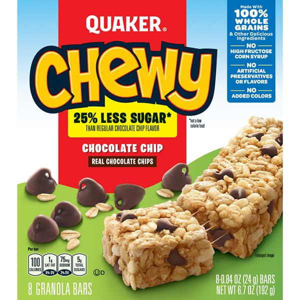 Quaker Chewy 25% Less Sugar Chocolate Chip Granola Bars 8-0.84 oz Bars