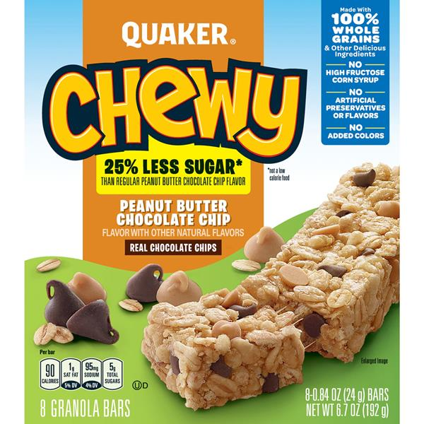 Quaker Chewy 25% Less Sugar* Peanut Butter Chocolate Chip Granola Bars