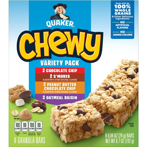 Quaker Chewy Granola Bar Variety Pack 8-0.84 oz Bars