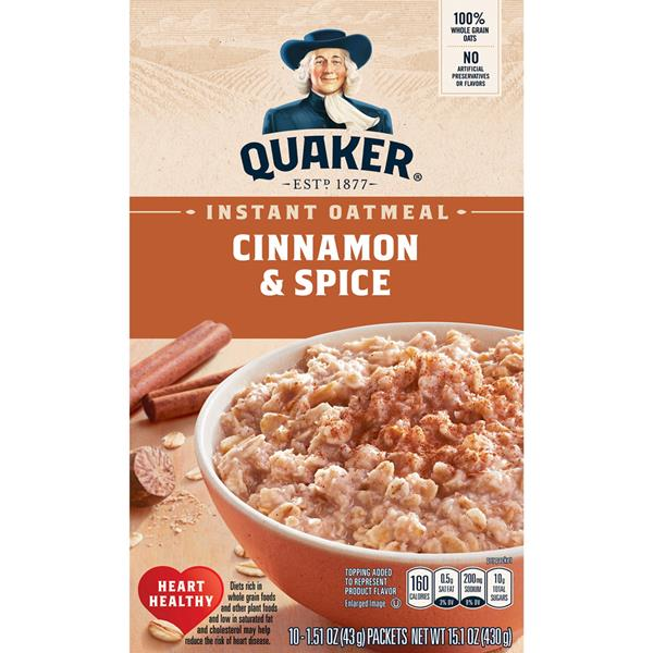 Quaker Oatmeal Cinnamon & Spice Instant Oatmeal, 10-1.51 oz Packets