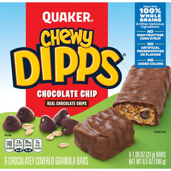 Quaker Chewy Dipps Chocolatey Covered Chocolate Chip Granola Bars 6-1.09 oz Bars