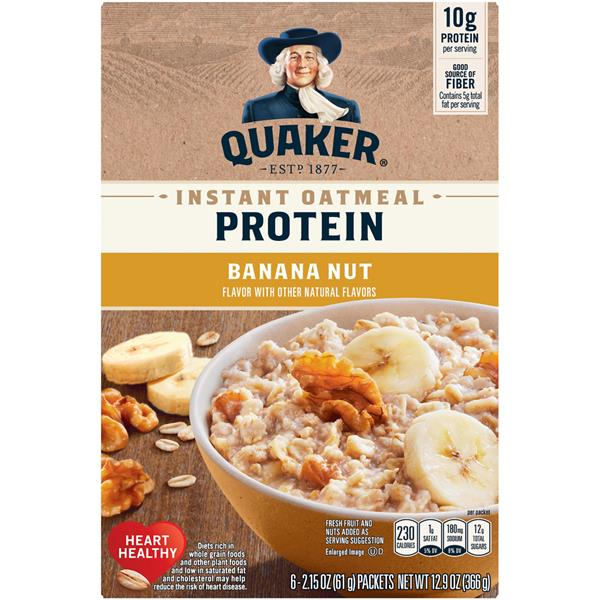Quaker Select Starts 10 Grams Protein Banana Nut Instant Oatmeal, 6-2.15 oz Packets