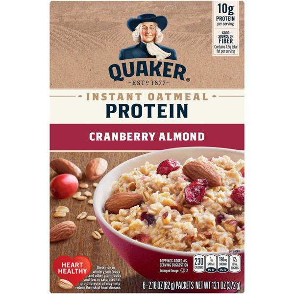 Quaker Select Starts Protein Cranberry Almond Instant Oatmeal, 6-2.18 oz Packets
