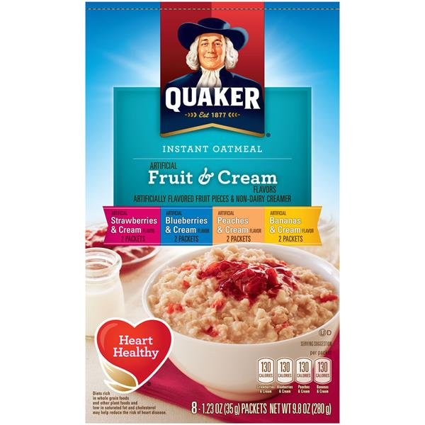 Quaker Fruit & Cream Instant Oatmeal Variety Pack, 8-1.23 oz Packets