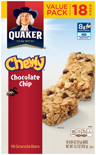 Quaker Chewy Chocolate Chip Granola Bars 18-.84 oz Bars