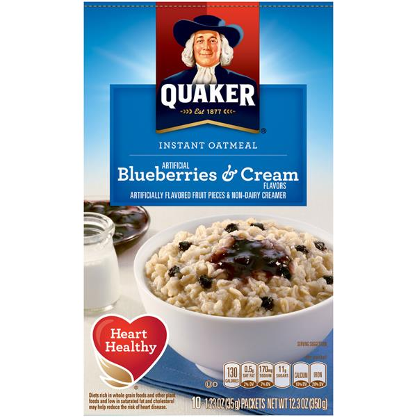 Quaker Blueberries & Cream Instant Oatmeal, 10-1.23 oz Packets
