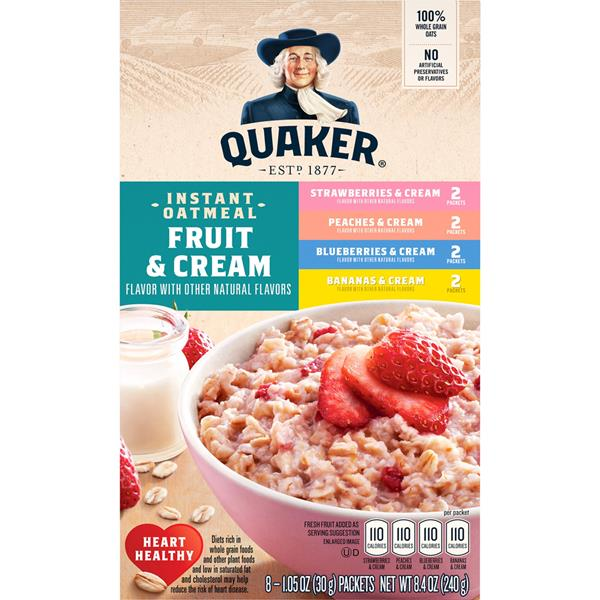 Quaker Instant Oatmeal Fruit & Cream Variety Pack 8-1.05 oz Packets