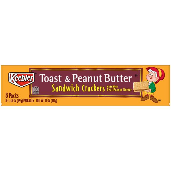 Keebler Toast & Peanut Butter Sandwich Crackers, 8-1.38 oz Packages