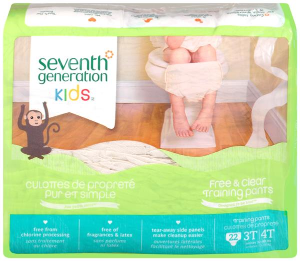 Seventh Generation Kids Free & Clear Training Pants 3T/4T Unisex 32-40 lbs 22Ct