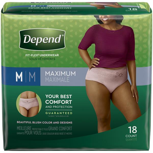 Depend For Women Fit-Flex Incontinence Underwear, Maximum Absorbency, M, Blush
