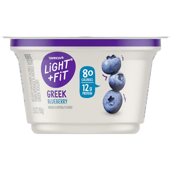 It is a graphic of Bright Dannon Light and Fit Blueberry Greek Yogurt Nutrition Label
