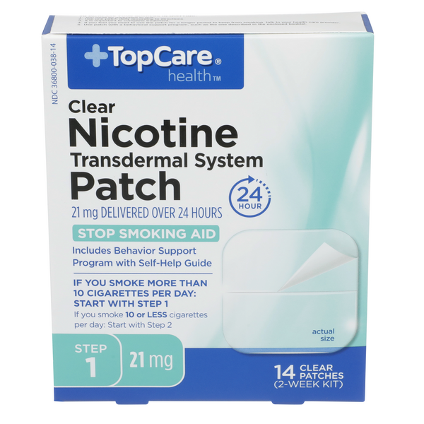 TopCare Health Clear Nicotine Patch 21mg Step 1 Stop Smoking Aid
