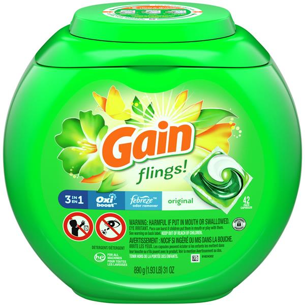 Gain Flings Laundry Detergent Original Pacs 42ct Hy Vee
