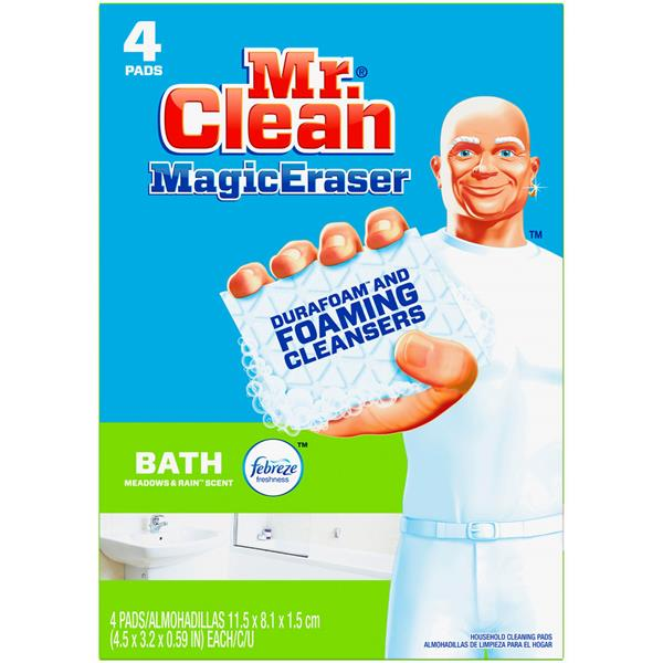 Mr. Clean Magic Eraser Bath, Cleaning Pads with Durafoam, Meadows & Rain, 4 Count