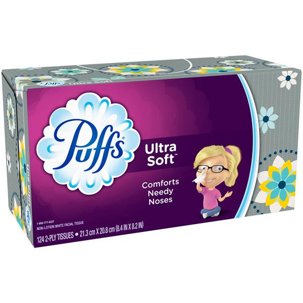Puffs Ultra Soft & Strong 2 Ply White Facial Tissue