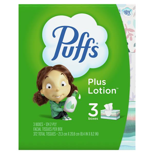 Puffs Plus Lotion Facial Tissues 3Pk