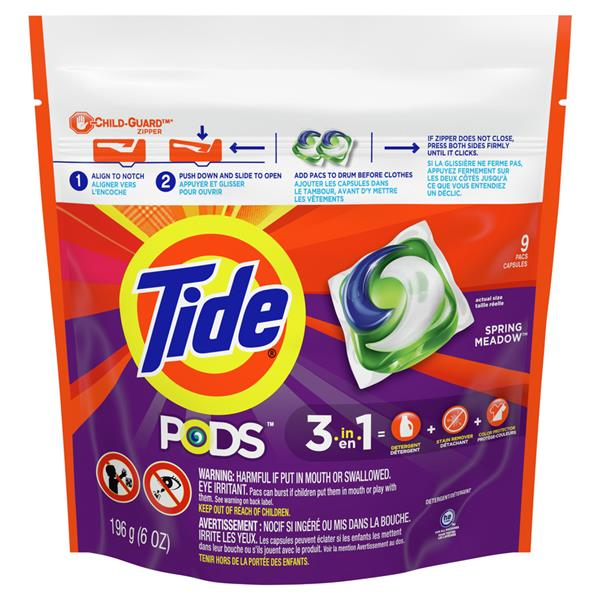 Tide Pods 3 in 1  Spring Meadow, 9 Count