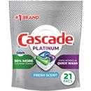 Cascade Platinum ActionPacs, Dishwasher Detergent, Fresh Scent, 21 count