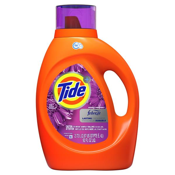 Tide HE Turbo Clean Plus Febreze Freshness Spring And Renewal Scent Liquid Laundry Detergent, 48-load