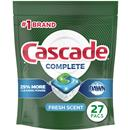 Cascade Complete ActionPacs, Dishwasher Detergent, Fresh Scent, 27Ct