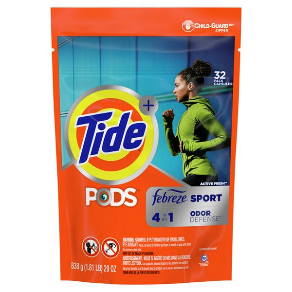 Tide Plus PODS Febreze Odor Defense Laundry Detergent Pacs, Active Fresh Scent, Designed For Regular and HE Washers 32Ct