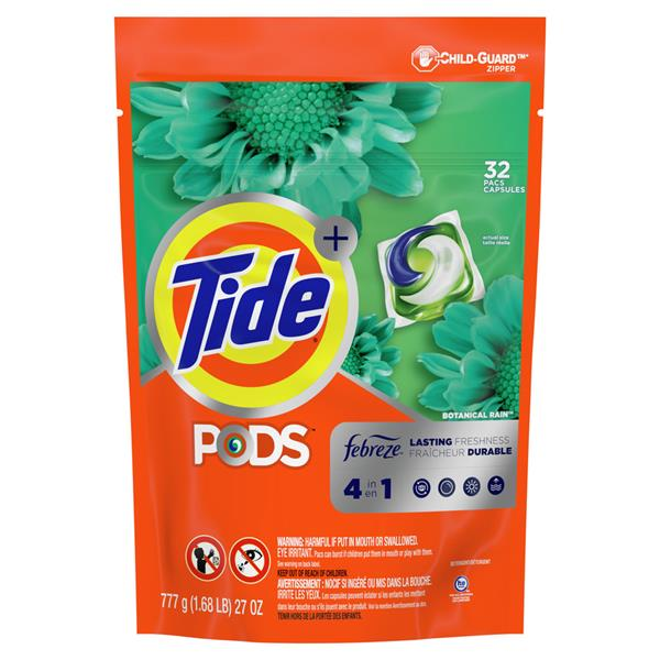 Tide PODS Plus Febreze Odor Defense Laundry Detergent Pacs, Botanical Rain Scent, Designed For Regular and HE Washers 32Ct