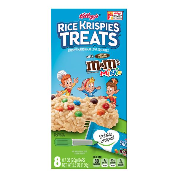 Kellogg's Rice Krispies Treats with M&M's Minis Chewy Marshmallow Squares 8-0.7 oz Bars