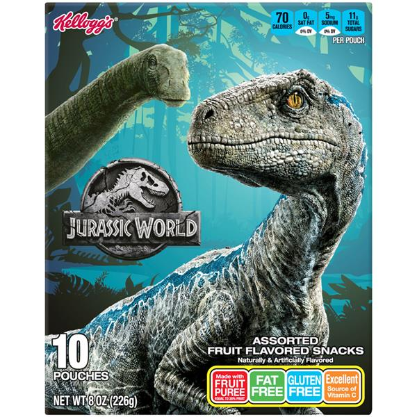 Kelloggs Jurassic World Assorted Fruit Flavored Snacks 10 Pouches